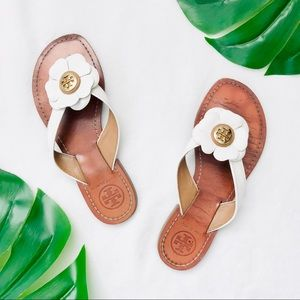 Tory Burch white flower logo flip flop sandals